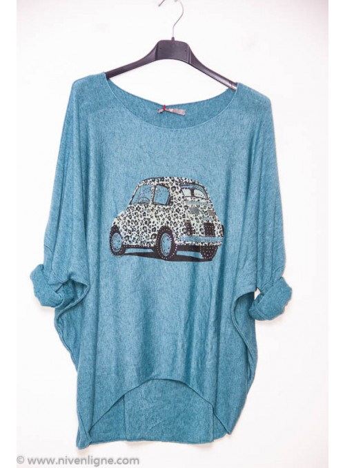 Pull CAR voiture strass