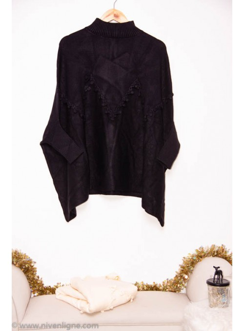 Pull CYPRIELLE poncho broderie